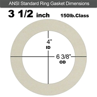 "Equalseal EQ 750W N/A NBR Ring Gasket - 150 Lb. - 1/8"" Thick - 3-1/2"" Pipe"