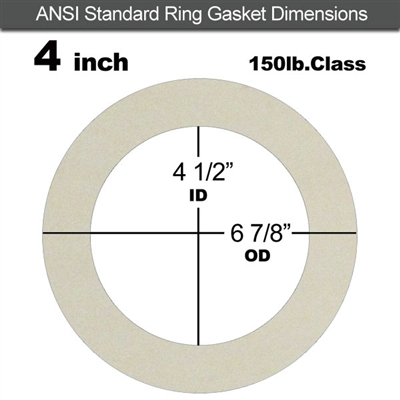 "Equalseal EQ 750W N/A NBR Ring Gasket - 150 Lb. - 1/8"" Thick - 4"" Pipe"