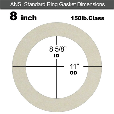 "Equalseal EQ 750W N/A NBR Ring Gasket - 150 Lb. - 1/8"" Thick - 8"" Pipe"
