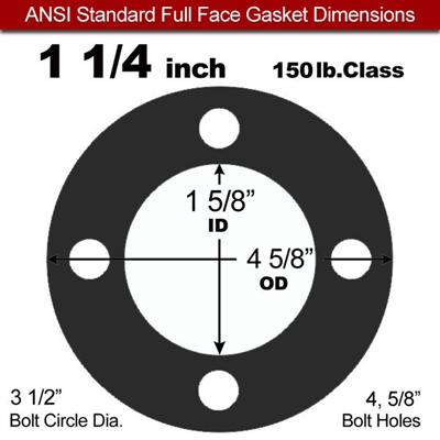 "Equalseal EQ 825 N/A NBR Full Face Gasket - 150 Lb. - 1/16"" Thick - 1-1/4"" Pipe"
