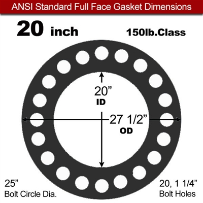 "Equalseal EQ 825 N/A NBR Full Face Gasket - 150 Lb. - 1/16"" Thick - 20"" Pipe"