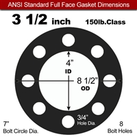"Equalseal EQ 825 N/A NBR Full Face Gasket - 150 Lb. - 1/16"" Thick - 3-1/2"" Pipe"