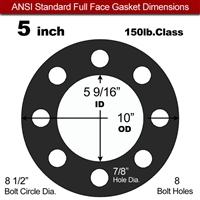 "Equalseal EQ 825 N/A NBR Full Face Gasket - 150 Lb. - 1/16"" Thick - 5"" Pipe"