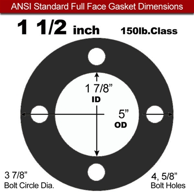 "Equalseal EQ 825 N/A NBR Full Face Gasket - 150 Lb. - 1/8"" Thick - 1-1/2"" Pipe"