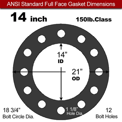 "Equalseal EQ 825 N/A NBR Full Face Gasket - 150 Lb. - 1/8"" Thick - 14"" Pipe"