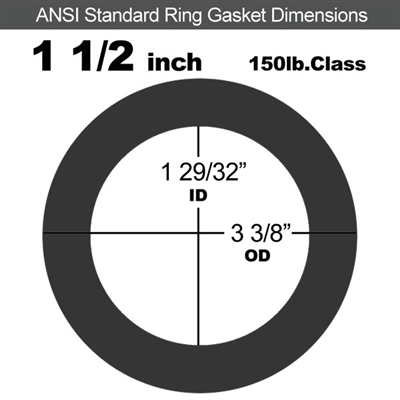 "Equalseal EQ 825 N/A NBR Ring Gasket - 150 Lb. - 1/16"" Thick - 1-1/2"" Pipe"