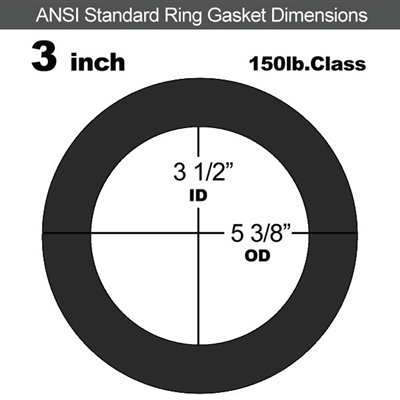 "Equalseal EQ 825 N/A NBR Ring Gasket - 150 Lb. - 1/16"" Thick - 3"" Pipe"