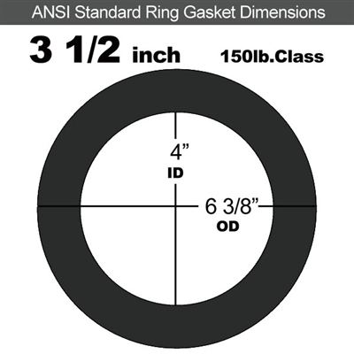 "Equalseal EQ 825 N/A NBR Ring Gasket - 150 Lb. - 1/16"" Thick - 3-1/2"" Pipe"