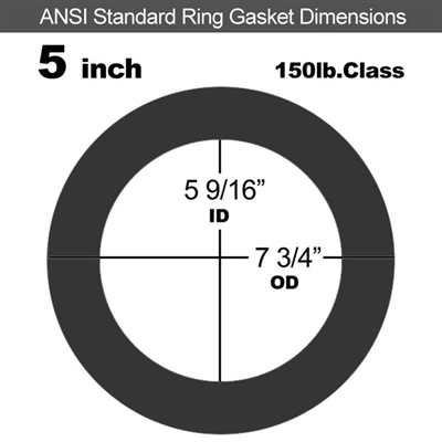 "Equalseal EQ 825 N/A NBR Ring Gasket - 150 Lb. - 1/16"" Thick - 5"" Pipe"