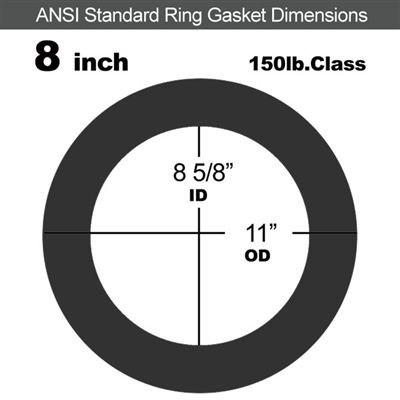 "Equalseal EQ 825 N/A NBR Ring Gasket - 150 Lb. - 1/16"" Thick - 8"" Pipe"