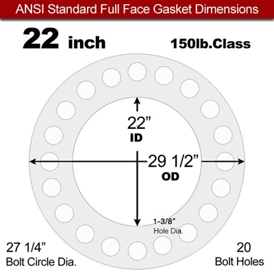 "Equalseal EQ 535exp Full Face Gasket - 150 Lb. - 1/8"" Thick - 22"" Pipe"