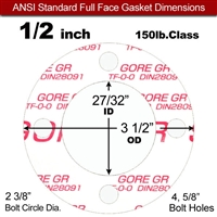 "GORE® GR Full Face Gasket - 150 Lb. - 1/16"" Thick - 1/2"" Pipe"