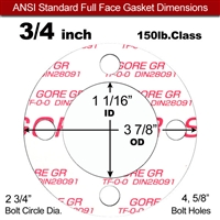 "GORE® GR Full Face Gasket - 150 Lb. - 1/16"" Thick - 3/4"" Pipe"