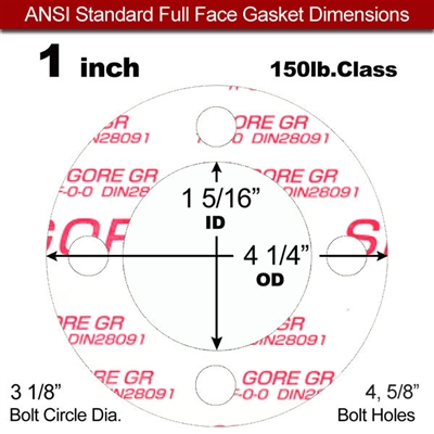 "GORE® GR Full Face Gasket - 150 Lb. - 1/16"" Thick - 1"" Pipe"