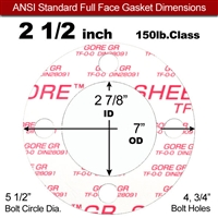 "GORE® GR Full Face Gasket - 150 Lb. - 1/16"" Thick - 2-1/2"" Pipe"