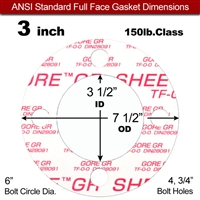 "GORE® GR Full Face Gasket - 150 Lb. - 1/16"" Thick - 3"" Pipe"