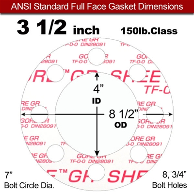 "GORE® GR Full Face Gasket - 150 Lb. - 1/16"" Thick - 3-1/2"" Pipe"