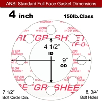 "GORE® GR Full Face Gasket - 150 Lb. - 1/16"" Thick - 4"" Pipe"