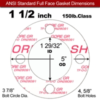 "GORE® GR Full Face Gasket - 150 Lb. - 1/8"" Thick - 1-1/2"" Pipe"