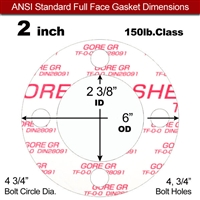 "GORE® GR Full Face Gasket - 150 Lb. - 1/8"" Thick - 2"" Pipe"