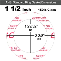 "GORE GR® Ring Gasket - 150 Lb. - 1/16"" Thick - 1-1/2"" Pipe"