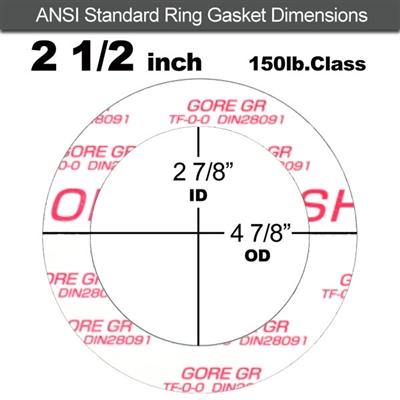 "GORE GR® Ring Gasket - 150 Lb. - 1/16"" Thick - 2-1/2"" Pipe"
