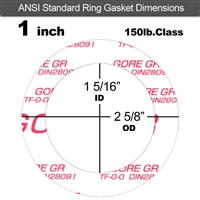"GORE GR® Ring Gasket - 150 Lb. - 1/8"" Thick - 1"" Pipe"