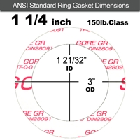 "GORE GR® Ring Gasket - 150 Lb. - 1/8"" Thick - 1-1/4"" Pipe"