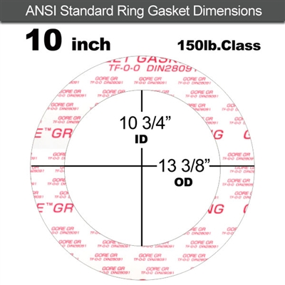 "GORE GR® Ring Gasket - 150 Lb. - 1/8"" Thick - 10"" Pipe"