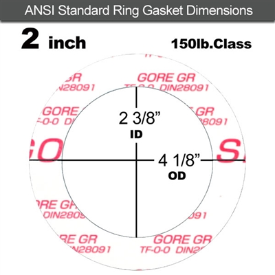 "GORE GR® Ring Gasket - 150 Lb. - 1/8"" Thick - 2"" Pipe"