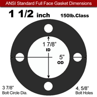 "60 Duro Neoprene Full Face Gasket - 150 Lb. - 1/16"" Thick - 1-1/2"" Pipe"