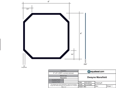 "60 Duro Neoprene Frame Gasket - 4"" x 4"" x 1/16"" Thick with angle corners"