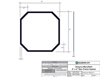 "60 Duro Neoprene Frame Gasket - 4"" x 4"" x 3/32"" Thick with angle corners"