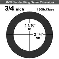 "60 Duro Neoprene Ring Gasket - 150 Lb. - 1/8"" Thick - 3/4"" Pipe"