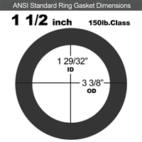 "60 Duro Neoprene Ring Gasket - 150 Lb. - 1/8"" Thick - 1-1/2"" Pipe"