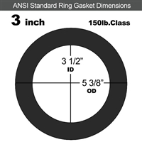 "60 Duro Neoprene Ring Gasket - 150 Lb. - 1/8"" Thick - 3"" Pipe"