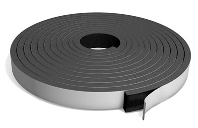 "Open Cell Neoprene Sponge Strip with PSA - 1/4"" x 3/4"" x 50 Ft."