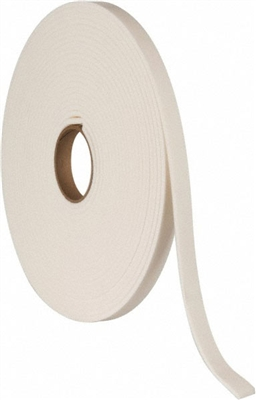 "White Polyethylene  Closed Cell Foam Strip Roll with PSA - 3/16"" x 1/2"" x 50 Ft."