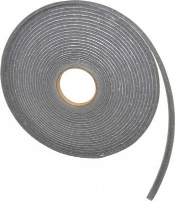 "Grey Polyurethane Open Cell Foam Strip Roll with PSA - 1/4"" x 3/4"" x 50 Ft."
