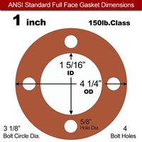"Red SBR Rubber Full Face Gasket - 150 Lb. - 1/16"" Thick - 1"" Pipe"
