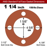 "Red SBR Rubber Full Face Gasket - 150 Lb. - 1/16"" Thick - 1-1/4"" Pipe"