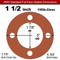 "Red SBR Rubber Full Face Gasket - 150 Lb. - 1/16"" Thick - 1-1/2"" Pipe"