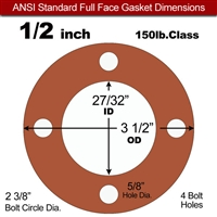 "Red SBR Rubber Full Face Gasket - 150 Lb. - 1/8"" Thick - 1/2"" Pipe"