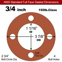 "Red SBR Rubber Full Face Gasket - 150 Lb. - 1/8"" Thick - 3/4"" Pipe"