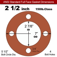 "Red SBR Rubber Full Face Gasket - 150 Lb. - 1/8"" Thick - 2-1/2"" Pipe"