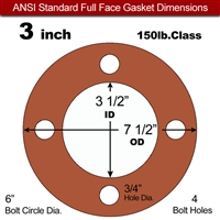 "Red SBR Rubber Full Face Gasket - 150 Lb. - 1/8"" Thick - 3"" Pipe"