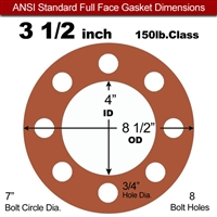"Red SBR Rubber Full Face Gasket - 150 Lb. - 1/8"" Thick - 3-1/2"" Pipe"