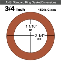 "Red SBR Rubber Ring Gasket - 150 Lb. - 1/16"" Thick - 3/4"" Pipe"