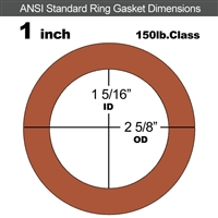 "Red SBR Rubber Ring Gasket - 150 Lb. - 1/16"" Thick - 1"" Pipe"