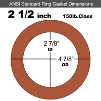 "Red SBR Rubber Ring Gasket - 150 Lb. - 1/16"" Thick - 2-1/2"" Pipe"